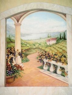 Tuscan Vineyard Wall Mural, Painted By Kyle King, Decorative Artist