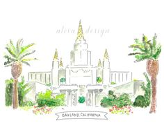 Hey, I found this really awesome Etsy listing at https://www.etsy.com/listing/173166580/oakland-california-lds-temple-watercolor