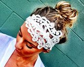 Stretchy Lace headband Wedding Head Bands Wide Hair Wrap.