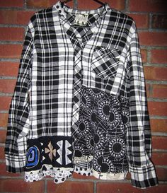 Reconstructed Black and White Flannel shirt fits L by monapaints, $175.00