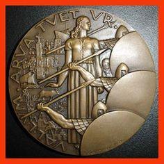 """Art Deco 1939/ """"Lignes Fortifiées""""/ Marianne-Soldiers /BRZ Medal by R. Delamarre"""
