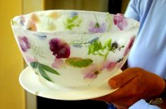 Bowl made of ice with edible flowers