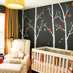 Thin Birch Tree Wall Decals Sticker Set - Simple Shapes Wall Decals, Furniture, and Accessories