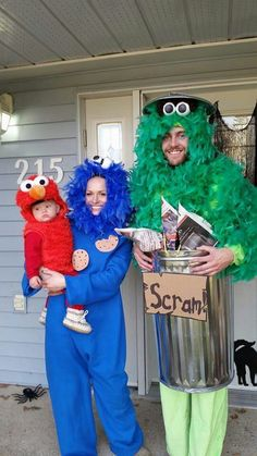 I would be trash guy. Adam big bird. And two girls elmo                                                                                                                                                                                 More