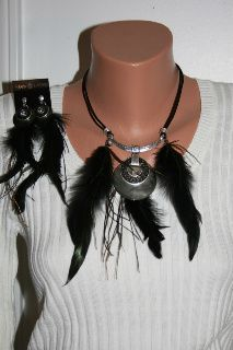 Handmade abalone shell with black feathers, earings and necklace set only on craftshowcase.net