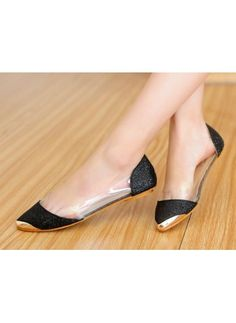 Europe Style Transparent Metal pointed flat shoes black. Clothes Nepal · Women  Shoes 8cb63df51962