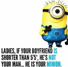Minion Boyfriend. So funny.  I do NOT date short guys....Must be 6' to ride.