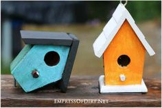 If you don't like birdhouses how they are, paint them in bold colours and turn them into garden art.