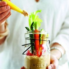 Crudites jars with moroccan hummus