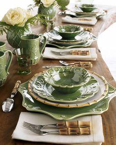 green & bamboo dinnerware