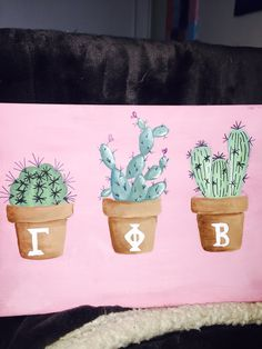 Gamma Phi Beta cactus painting