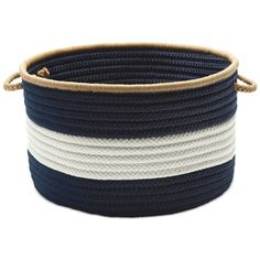 Colonial Mills Baja-Stripe Basket (6,655 INR) ❤ liked on Polyvore featuring home, home decor, small item storage, baskets, navy, navy blue storage baskets, navy blue home decor, storage baskets and book baskets