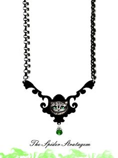 Gothic spooky necklace 'Cheshire Cat' alice in by SpiderStratagem