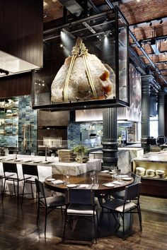 Rockwell Group's design of restaurant interior of Chefs Club by Food&Wine Cafe Restaurant, Restaurant Design, Luxury Restaurant, Restaurant Concept, Modern Restaurant, Industrial Restaurant, Vintage Restaurant, Restaurant Lighting, Café Bar