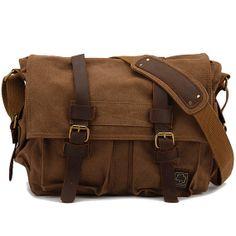 Véritable cuir de vache sac, sac de toile, serviette, sacoche, besace, sac d'ordinateur portable, toile de cuir pour hommes sac, bandoulière bag,(TB03)