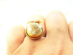 Kawaii Food Ring  Cream Puff   Miniature Food by SouZouCreations, $10.00