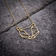 Cat necklace Geometric necklace gold necklace fox by ByYaeli