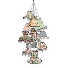 Are you interested in our Lampshade illustration? With our Illustrated print for the home you need look no further. Lampshade Chandelier, Mini Chandelier, Chandelier Shades, Lampshades, Luxury Furniture Brands, Little Birds, Decorative Bells, Painting & Drawing, Illustration Art