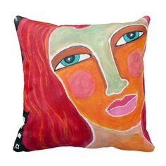 Ginger Throw Pillow-Abstract Art Folk Art, Living Spaces, Abstract Art, Throw Pillows, Graphic Design, Texture, Blanket, Painting, Color