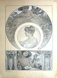 "'Figures Décoratives' by Alphonse Mucha. Published 1905 by Librairie Centrale des Beaux Arts, Paris. ""This beautiful folio reflects Alphonse Mucha's mastery of the female form. As Art Nouveau's most influential artist, Mucha renders women and their sensuality in sensitive detail, his classic curvilinear lines accompanying compositions of women in natural settings."""