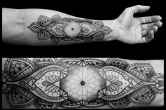 Chaim Machlev's black geometric tattoos