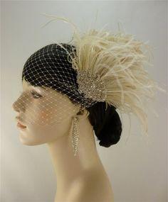 Hollywood Glitz Rhinestone Bridal Feather by IceGreenEyes on Etsy