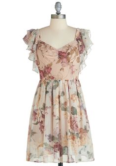Cream Floral (Brown/Dark Green/Muted Red/Pink/Orange)  Pleated A-Line Dress with Short Ruffled Sleeves