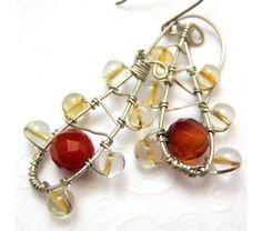 Handmade Sterling Silver Earrings with Faceted Carnelian and Citrine, $29.0