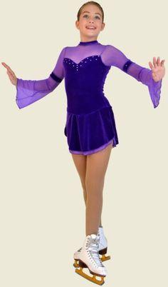ChloeNoel - Ice Skating Dress - 2 Layer Skirt Flare Long-Sleeve Velvet Dress