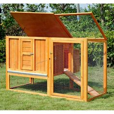 Amazon.com : Pawhut 64 in. Chicken Coop Hen House with Nesting Box and Outdoor Run : Patio, Lawn & Garden