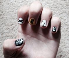 I decided to do my nails Rock Nails, Fun Nails, 5sos Nails, Cool Nail Art, 5 Seconds Of Summer, Manicure, Nail Designs, Rings For Men, Geek Stuff