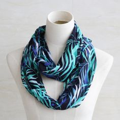 Blue green leaf pattern scarf soft cotton by blackbeanblackbean, $6.99