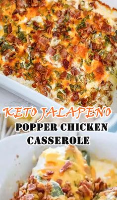 Easy Casserole Keto Jalapeno Popper - This delicious casserole is the perfect family meal recipe that everyone will love! Kid-friendly, low-carb chicken recipes ideal for cooking #Chicken #Casserole #Keto Easy Chicken Dinner Recipes, Low Carb Chicken Recipes, Easy Salad Recipes, Chicken Salad Recipes, Delicious Recipes, Crockpot Recipes, Tasty, Health Dinner, Keto Dinner
