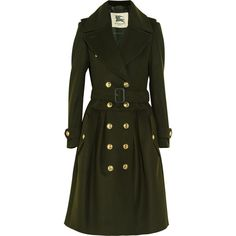 Burberry London Wool and cashmere-blend trench coat ($699) ❤ liked on Polyvore featuring outerwear, coats, jackets, coats & jackets, dark green, double breasted wool coat, green trench coat, dark green trench coat, wool cashmere blend coat and burberry coat