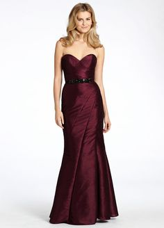 Wine duping bridesmaid trumpet gown, strapless sweetheart neckline with asymmetrical seams, front side slit Style jh5528 by JLM Couture, Inc.