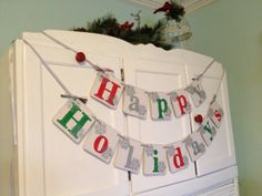 Holiday Decoration   Happy Holidays banner  by ClassicBanners, $22.00 - christmas banner - christmas decor - silver christmas decorations - green and red - Happy Holidays sign