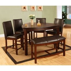 Best Quality Furniture 6-piece Dark Cherry Counter Height Dining Table Set