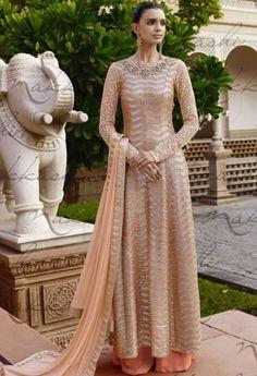 Beige Net Designer Palazzo Salwar Kameez 37575