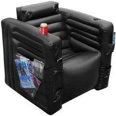 Multimedia Everything Chair- inflatable chair with headrest speakers, magazine pockets and cup holders. Perfect chair for gamers and tv addicts Surround Sound, Multimedia, Cadeau High Tech, Lazy Boy Chair, Air Lounge, Inflatable Chair, Farmhouse Table Chairs, Dining Chairs, Teenage Girl Gifts