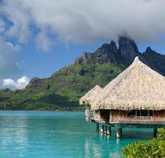Hut on the water in Bora Bora