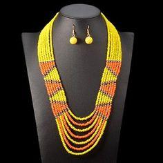 Product Specifics Item Type:Jewelry SetsFine or Fashion:FashionShape\pattern:RoundModel Sets Type:Necklace/EarringsMetals Type:Zinc AlloyIncluded Additional Item Description:necklace + earringsOccasion:Weddingis_customized:Yes African Necklace, African Beads, African Jewelry, Beaded Statement Necklace, Bohemian Necklace, Bead Jewellery, Beaded Jewelry, Fashion Jewellery, Wedding Necklace Set