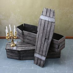 Doll House Miniature  Old Broken Coffin by BentleyHouseProducts