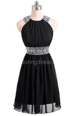 Impressive High-neck Short Chiffon Dress With Beadings