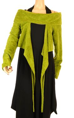 She's Crazy Fabulous Leaf Green Soft Asymmetric Shrug - Spring/Summer 2013-She's Crazy, lagenlook, womens plus size UK clothing, ladies plus size lagenlook fashion clothing, - I like but would never wear, all the hangy stuff would drive me crazy!