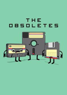 The Obsoletes (Retro Floppy Disk Cassette Tape) Art Print by Jane Hazlewood   Society6