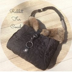 """Rabbit Fur Coach Purse Coach purse with signature coach """"C's"""" stitched in material. Real fur around top and clasp closure. I've only used this once and it's in great condition! Coach Bags"""