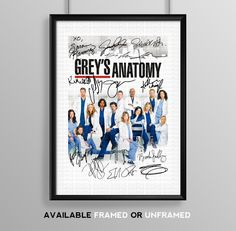 Grey's Anatomy Cast Signed Autograph Signature Autographed A4 Poster Photo Print Photograph Artwork Wall Art Picture TV Show Series Season DVD Boxset Present Birthday Xmas Christmas Memorabilia Gift Greys (POSTER ONLY): Amazon.co.uk: Kitchen & Home