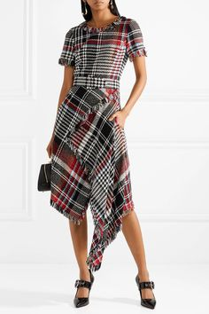 Oscar de la Renta | Asymmetric fringed checked cotton-blend tweed midi dress | NET-A-PORTER.COM