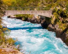 New Zealand - Huka Falls on the Waikato River near. It's about 1 hour from Rotorua.  *The Huka Falls are a set of waterfalls on the Waikato River that drains Lake Taupo in #NewZealand . #travel