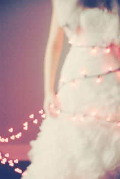 heart twinkle lights and a long dress